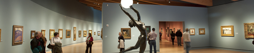 People viewing an art exhibition for entertainment
