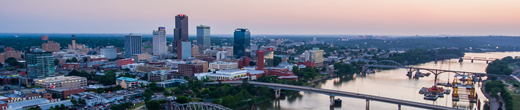 Little Rock at dusk overlooking the river and heart of Downtown