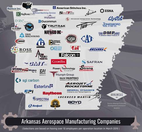Arkansas Aerospace Manufacturing Companies Map