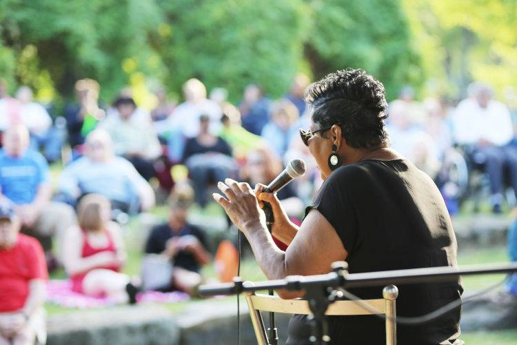 Jazz in the Park-2017-performer and crowd shot
